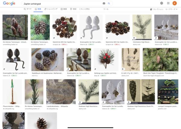 アンヘンクゼルと松ぼっくりのドイツ語でGoogle検索